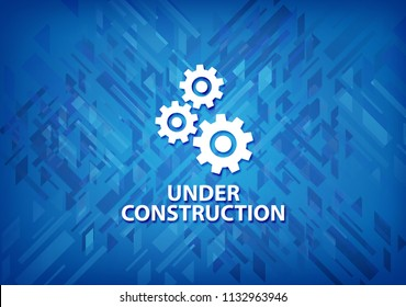 Under construction (gears icon) isolated on blue background abstract illustration