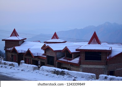 Under construction house covered under snow after recent snowfall in Kufri, Shimla, Himachal Pradesh. Kufri is a popular winter tourist destination for enjoying snowfall and skiing.