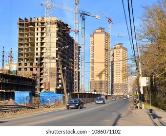 Under construction modern residential buildings on outskirts of Saint Petersburg, Russia.