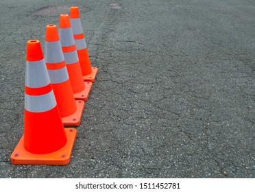 under construction orange traffic cones asphalt road web site