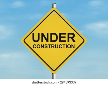 Under construction. Road sign on the sky background. Raster illustration.