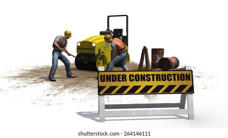 under construction sign in front of a road roller construction machine and construction worker