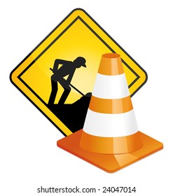 Under construction sign and traffic cone