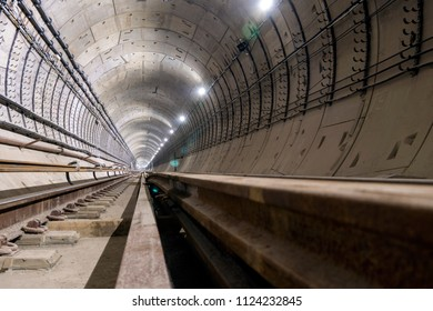 under construction subway tunnel of reinforced concrete tubes