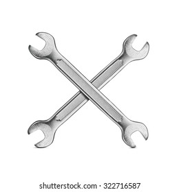 Under construction, two crossed silver wrenches isolated on white background