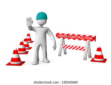 Under construction with white manikin on the white background. 3d illustration.