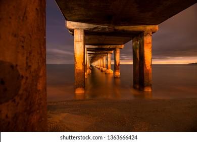 Under the Dromana Pier, night photography