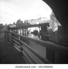 under the east bridge, enniskillen, fermanagh, northern ireland, this black and white photo is NOT sharp due to camera characteristic. Taken on analogue photographic film with a pinhole camera.