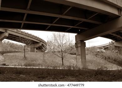 Under highway overpasses