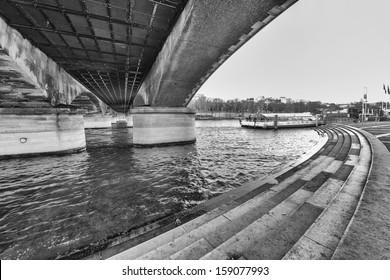 Under Iena Bridge, Paris. Seine river in Eiffel Tower area.