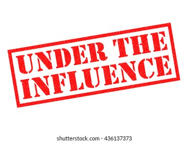 UNDER THE INFLUENCE red Rubber Stamp over a white background.