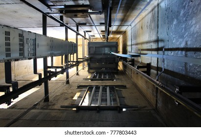 Under inside elevator.elevator under construction.