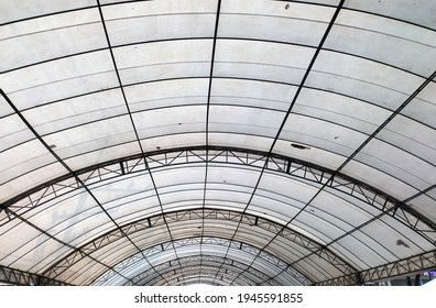 Under large outdoor roof dome construction, canvas and metal for event and parking exhibition. - Shutterstock ID 1945591855