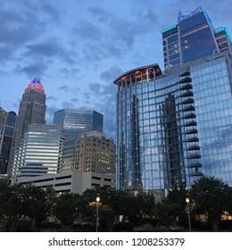 Under a moody night sky, Uptown Charlotte shines bright in North Carolina