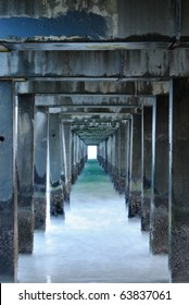 Under a pier on the beach at Coney Island in New York City.