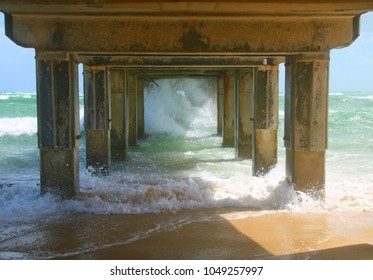 Under the pier on the Dromana foreshore on a windy day