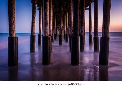 Under the pier at twilight, in Ventura, California.