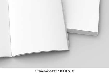 under right part of two books on the ground, one open, isolated gray background, 3d rendering elevated view, close up