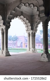 Under the roof of Pillar Gallery in Agra Fort, Uttar Pradesh, India