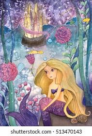 Under The Sea Life (Watercolor Illustration)