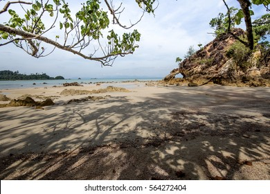 Under the shade in island and beautiful rock for vacation