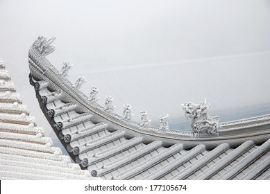 under the snow covered overhanging eaves, Chinese temple roof