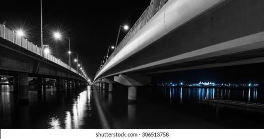 Under the Southport Sundale Concrete Bridge at Night, Nerang River, Gold Coast, Queensland, Australia