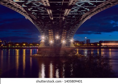 under the Theodor-Heuss bridge in Mainz with view to Mainz during blue hour