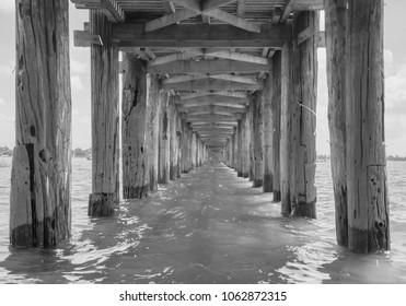 Under U Bein Bridge in black and white , Mandalay, Myanmar.
