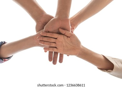 under view friendship People partnership teamwork  stacking hands on white background , Business  teamwork concept