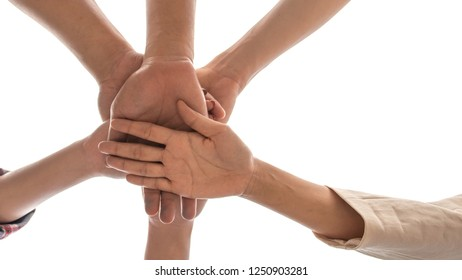 under view friendship People partnership teamwork  stacking hands on white background , Business  teamwork concept