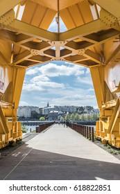Under the yellow crane titan in Nantes (France)