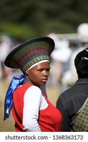 UNDERBERG, SOUTH AFRICA - APRIL 29, 2007: young Zulu woman attending traditional dances in Kwazulu-Natal.