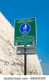 undercliff walk and cyclist path at Brighton, UK
