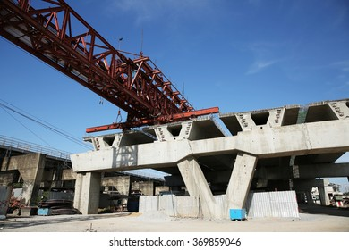 Under-construction of concrete high speed way with heavy equipment in Nonthaburi province, Thailand.