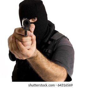 Undercover policeman wearing a hood balaclava, aiming at your face with a semi automatic gun