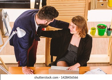 Underestimate levels of sexual harassment. Sexual assault at workplace. Woman secretary suffer assault and harassment. Harassment and abuse concept. Boss unacceptable behavior subordinate employee.