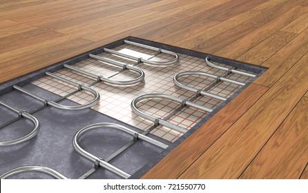 Underfloor heating system under wooden floor. 3D rendered illustration.