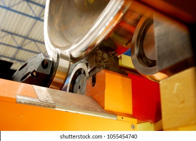the underfloor wheel lathe machine was re-profiling the wheel of a train