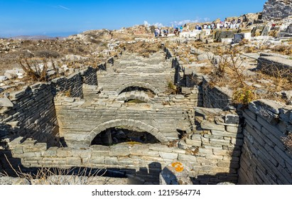 The underground aqueduct at the Greek island of Delos, bith place of ancient god Apollo. Aegean Sea, Mediterranean Sea.