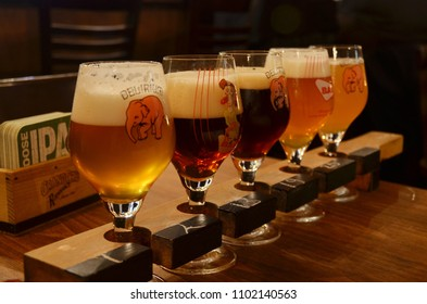 An underground bar Le Trappiste with medieval style at Bruges Belgium serving different kinds of craft beers. 08122016
