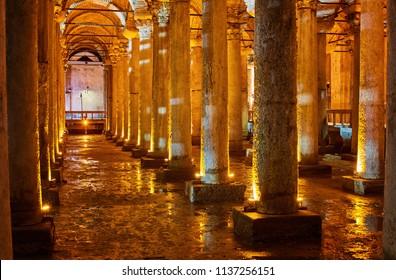 Underground Basilica Cistern Yerebatan Sarnici in Istanbul, Turkey. Cistern in Istanbul underground. Basilica showplace in Istanbul. Place underground in Istanbul Basilica.