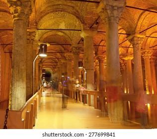 Underground Basilica Cistern Yerebatan Sarnici in Istanbul, Turkey. Cistern in Istanbul underground. Basilica showplace in Istanbul. Istanbul cistern for water. Place underground in Istanbul Basilica.