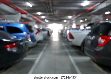 underground of car park in business building, blur image background