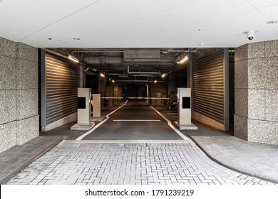 Underground car park entrance at modern office building