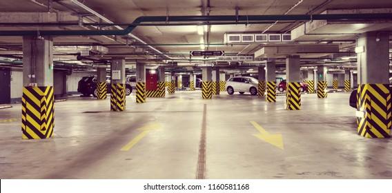 Underground car parking at modern house. Nobody