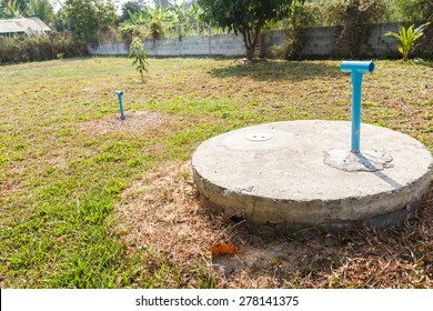 underground cement cylinder of lavatory cesspit in lawn yard