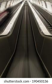 Underground escalator in motion