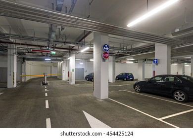 Underground garage in business house in center of town Dubrovnik in Croatia