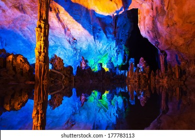Underground lake in Reed Flute Caves in Guilin ,China